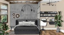 Интерьерный коллаж спальня + кабинет в стиле Лофт