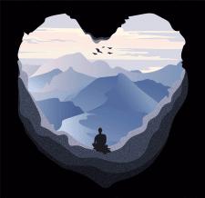 Сердце-гора_векторная графика