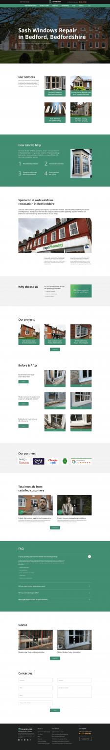 Дизайн главной страницы компании по ремонту окон