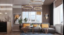3D визуализация кухни-гостиной, современный стиль