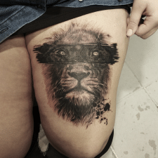 тату лев tattoo lion Cover-up