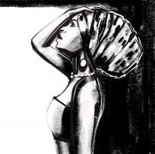 Иллюстрация выполнена углем в диджитал