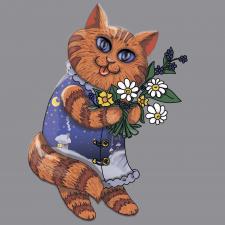 Персонаж Кот с цветами