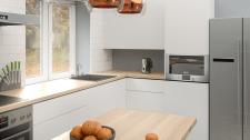 Визуализация кухни с полуостровом в частном доме