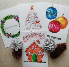 Акварельные открытки к Новому году
