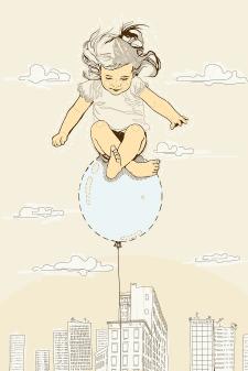 Иллюстрация девочка на шаре