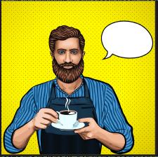 Комикс поп-арт для кофейни