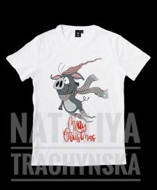 Принт для футболки  «Новогодняя свинка»