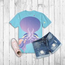 Иллюстрация осьминог(принт на одежде)