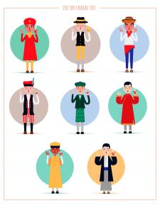 Иллюстрирование персонажей разных национальностей
