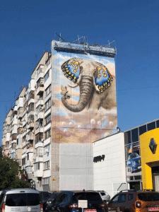 Мурал в Запорожье (9 этажей) Слон