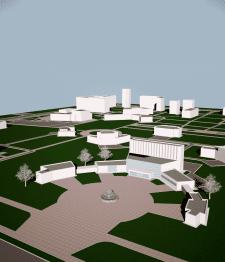 Модель центра города с птичьего полета