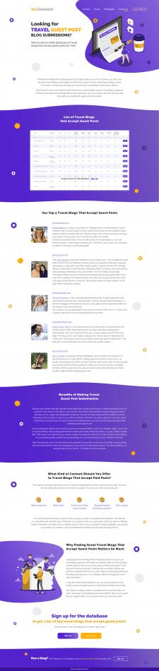 Дизайн страницы для сайта Yes Outreach