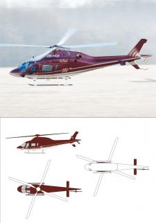 схема-раскраска вертолета