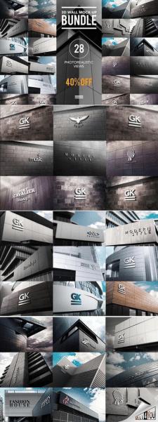 Объемные 3D логотипы на стенах
