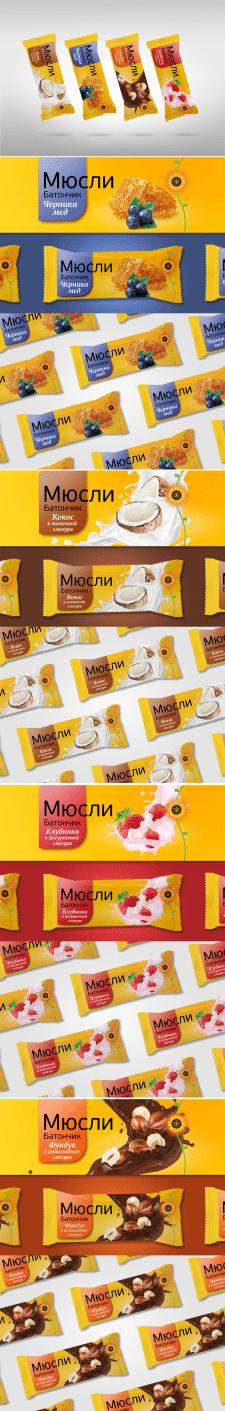 Дизайн упаковки - Батончики Мюсли