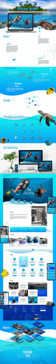 Scuba Shop - Web design and Mobile version