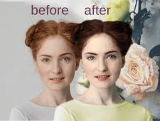 коррекция лица и смена цвета волос