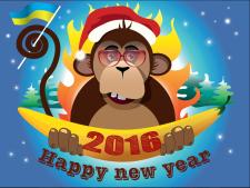 Векторная новогодняя обезьяна