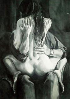 "Акварель ""Девушка на руках"""