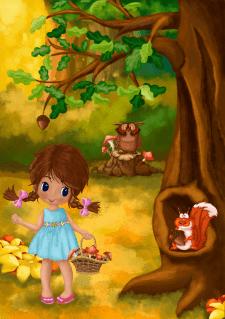 Иллюстрация для сказки - Девочка с грибами