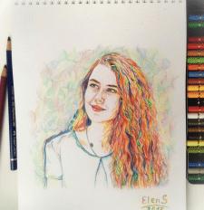 портрет кольоровими олівцями
