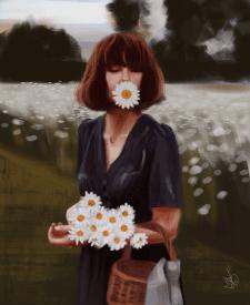 Дівчина з ромашками