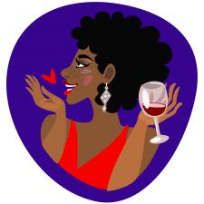 Вечірка,поцілунок,бокал вина