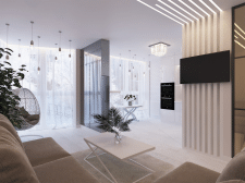 Дизайн видовой квартиры для стильной девушки