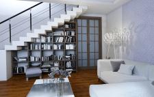 Гостинная двох уровневая квартира