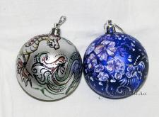 Елочные шары - драконы и цветы