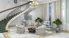 Дизайн интерьера гостиной и визуализация в V-Ray