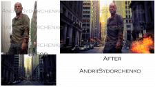 Замена фона, добавления взрыва, цветокоррекция