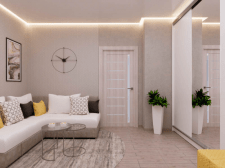 Дизайн гостиной, прихожей