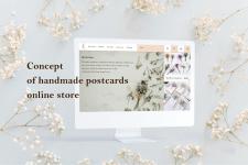 Concept of handmade postcards online store