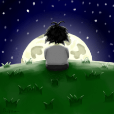 Мальчик смотрит на луну