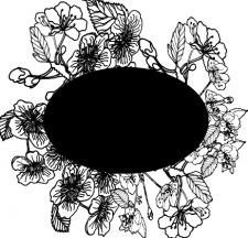 цветы нарисованные черным цветом на черном фоне