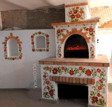 Украинская печь , петриковская роспись