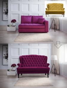 Вставка мебели в интерьер, замена цвета