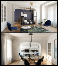 Interior visualization using 3d- Max, V-Ray