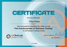 Сертификат от компании QATestLab
