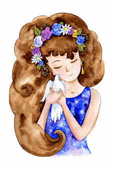 Любовь к природе - акварельная иллюстрация