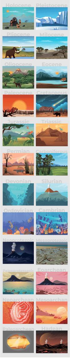 Серия иллюстраций Геологических периодов