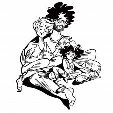 Ілюстрація сім'ї чорно-білий варіант