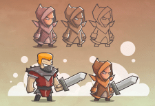 2D mobile game concept characters