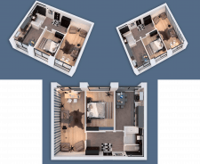 3D visualization of a two-room apartment NEW