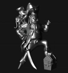 Фигура пирата с мартышкой на плече