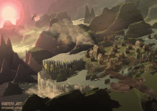 Пейзаж фентезийного острова Эдем