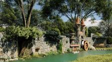 Визуализация будущего пруда и декора у стены
