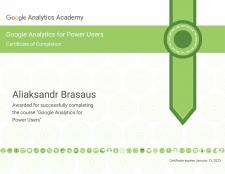 Сертификат Google Analytics for Power Users